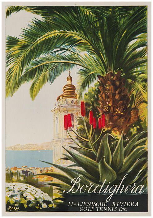 Vintage Italian Posters ~ #illustrator #Italian #posters ~ Bordighera, Liguria - Riviera dei Fiori.