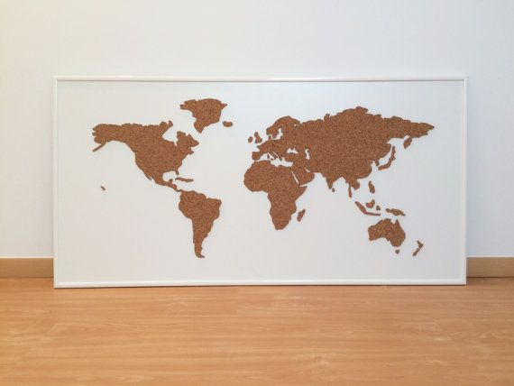 Cork Board World Map White by OneFancyChimney on Etsy