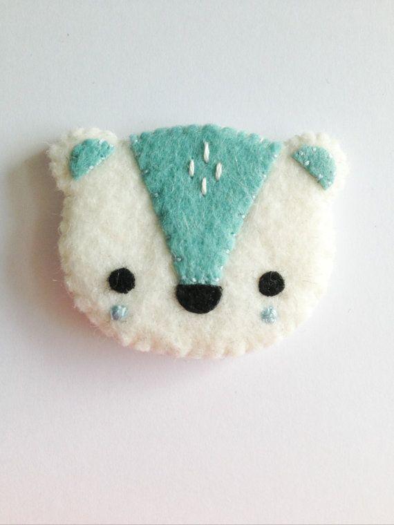 NEW 2014 polar bear brooch by littlehappystitches on Etsy