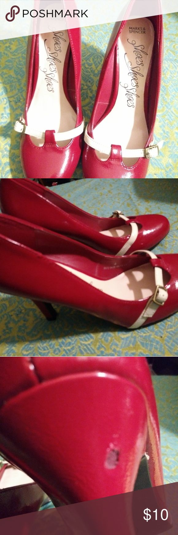 Mark and Spencer red heels with white strap Used.  Right heel has wear shown in picture. Marks & Spencer Shoes Heels