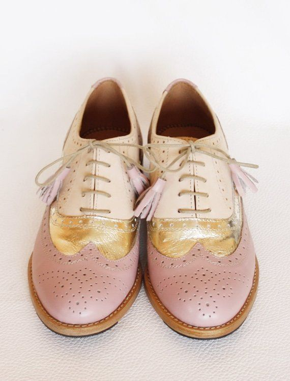 d3b7ef5c68065 Three Tone Oxford Wingtip Women Leather Wedding Dress Brogues Shoes ...