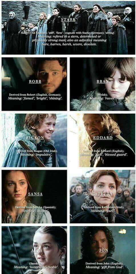 House Stark  Stark family name meanings
