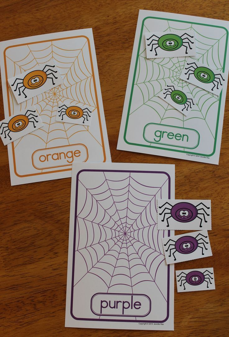 Printable color matching games for preschoolers - Color Matching And Size Sorting Spiders Fall Activities For Preschool And Pre K