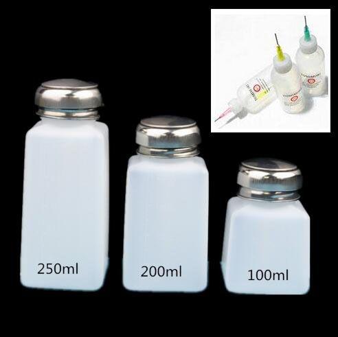 100 МЛ 200 МЛ 250 МЛ Пустой Дозатор Ногтей Жидкость Алкоголь Remover Очиститель Бутылка + 2 шт. Капельницы бутылки Дозатором