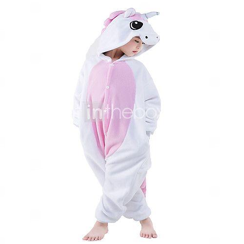 Kigurumi Pajamas Unicorn Leotard/Onesie Festival/Holiday Animal Sleepwear Halloween Pink Patchwork Polar Fleece Kigurumi For KidHalloween 2017 - $16.19