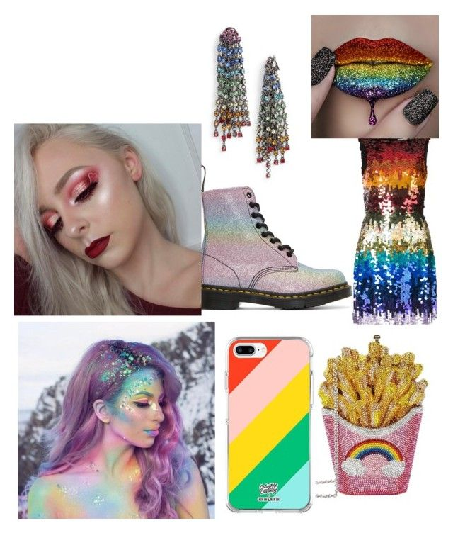 """rainbow look 2018"" by marisa0751 ❤ liked on Polyvore featuring Judith Leiber, Alice + Olivia, Fifth & Ninth, Dr. Martens, The Gypsy Shrine and Oscar de la Renta"