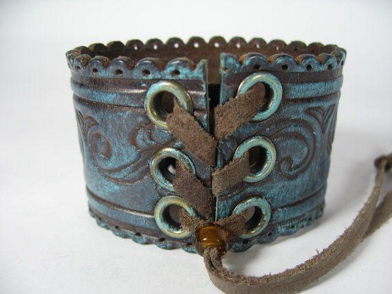 Bohemian Gypsy Leather Cuff Bracelet