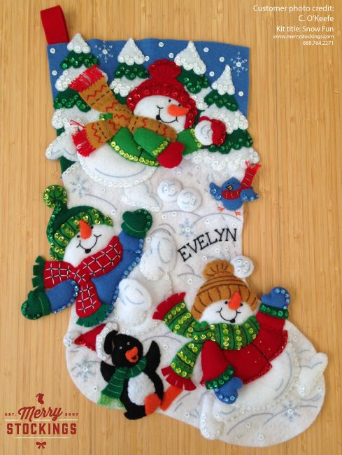 Bucilla Stocking kit entitled Snow Fun. Completed kit finished by a MerryStockings customer. Nice work!
