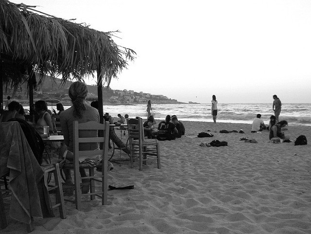 Dusk at the beach bar on Messakti beach, Ikaria.