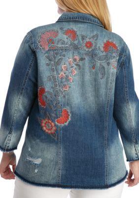 Jessica Simpson Women's Plus Size Printed Denim Jacket - Bloom/Bloom - 2X