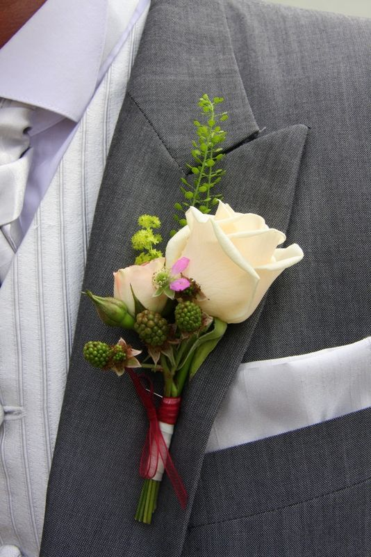 love this buttonhole - love idea of blackberries in bouquet and buttonholes