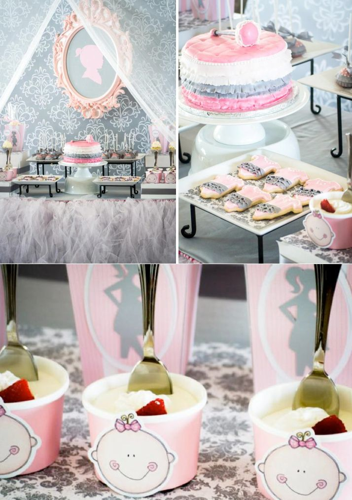 pink gray princess girl themed baby shower party planning ideas decorations
