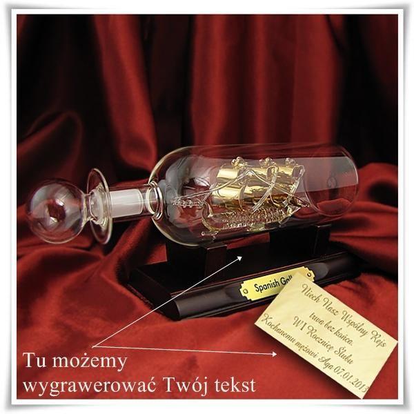 Statek w butelce z grawerem - Trafiony prezent