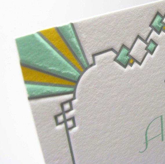 MY MOST FAVORITE SO FAR!?!....Art Deco wedding invitations by LetterpressLight on Etsy, $12.00