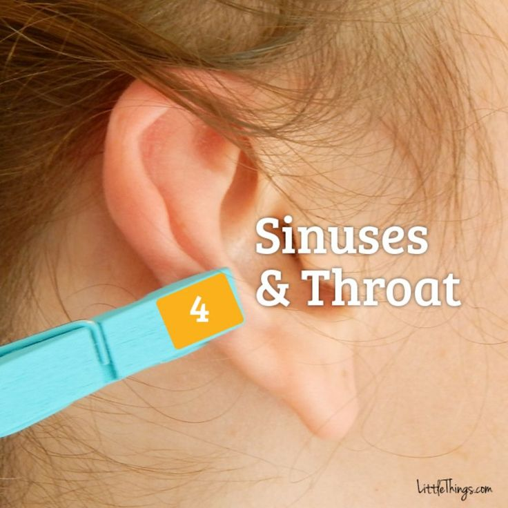 4. SINUSES & SORE THROAT  The area near the middle of your ear corresponds with your sinuses and throat. If you place a clothespin here, it can help with pesky sore throats and relieve stress in sinus infections and colds.