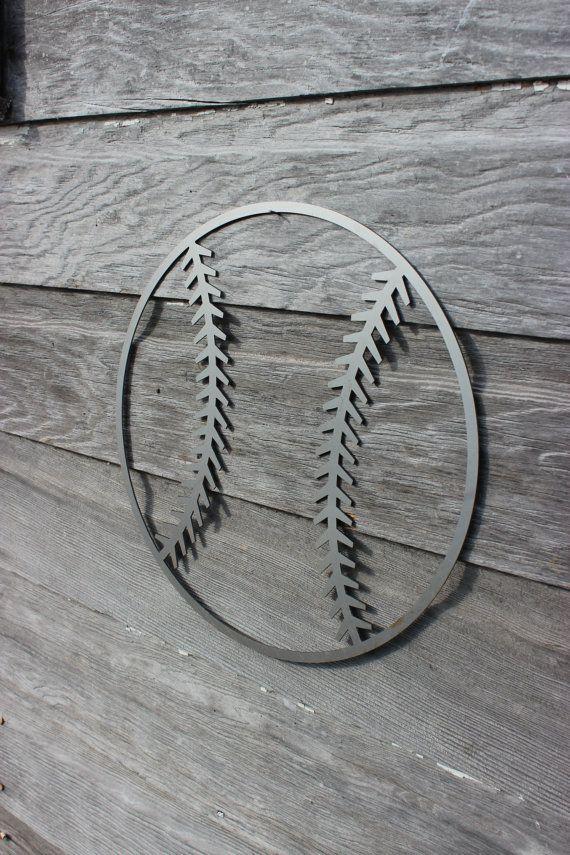 Baseball Metal Art- Metal Sign - Metal Art - Home Decor -  Baseball Decorations - Softball Decorations - industrial decor - modern baseball