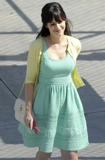 Jessica Day / Zoey style mint green dress and yellow cardigan