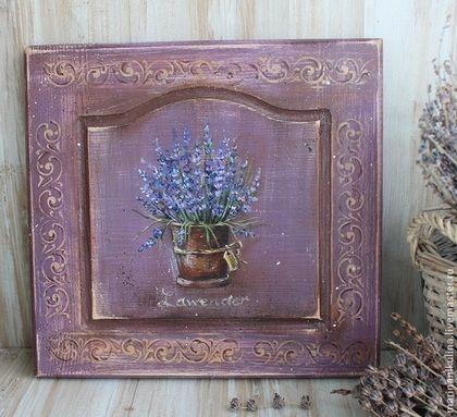 """""""Горшочек лаванды"""" панно - фиолетовый,сиреневый,лавандовый,Роспись по дереву"""