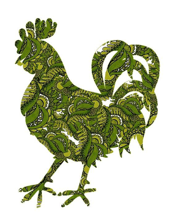 Farm Animal Rooster Picture Kitchen Wall Art Print Of Green And