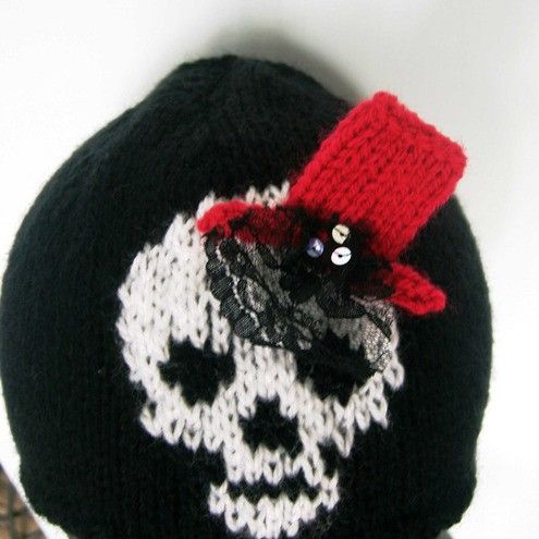 Skull wearing top hat Hand knitted hat by thekittensmittensuk, $25.00