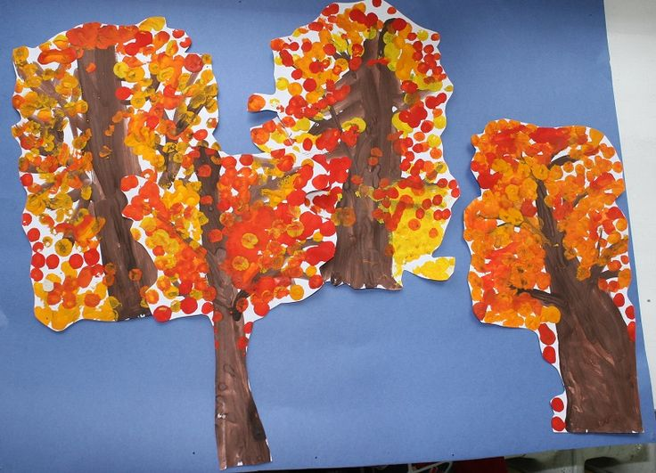 Осенний лес. Деревья рисовали самые маленькие.