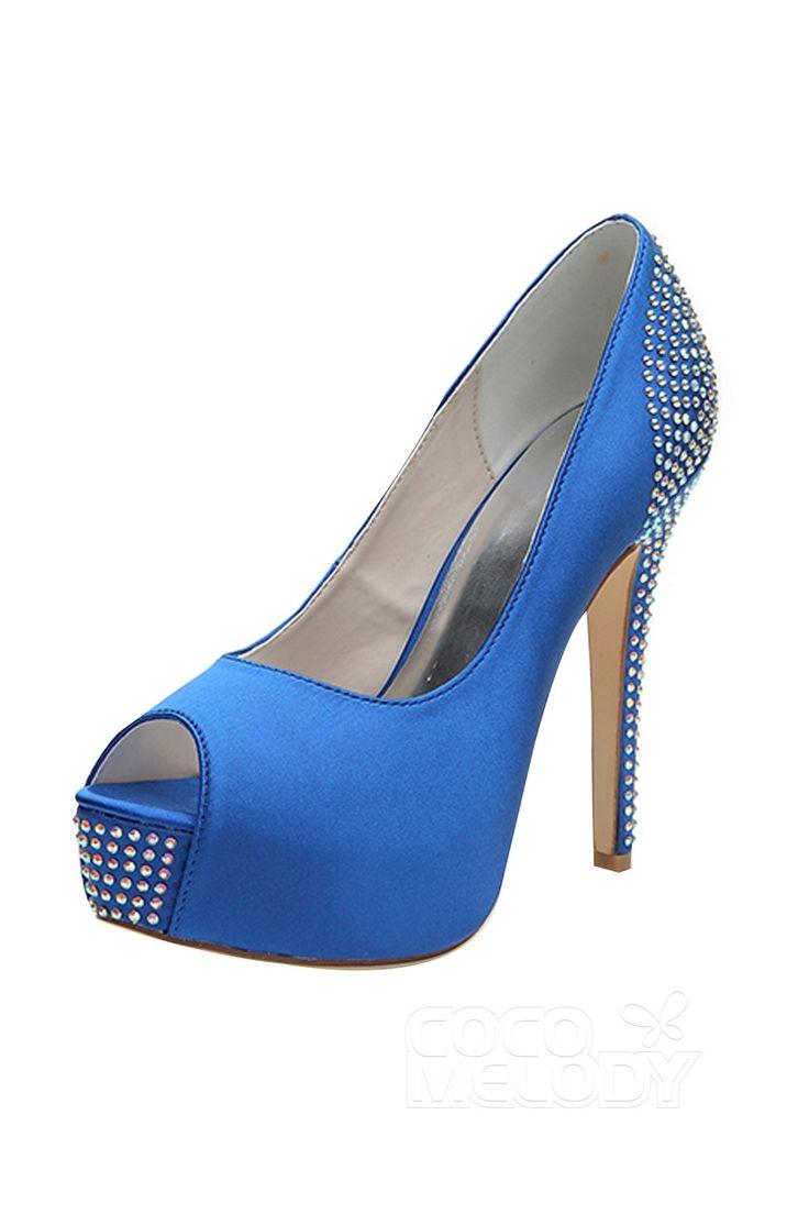 909dc99d7c09 Stiletto Heel 12.7cm Heel 2.8cm Platform Satin Rhinestone Peep Toe Bridal  Shoes SWS16016
