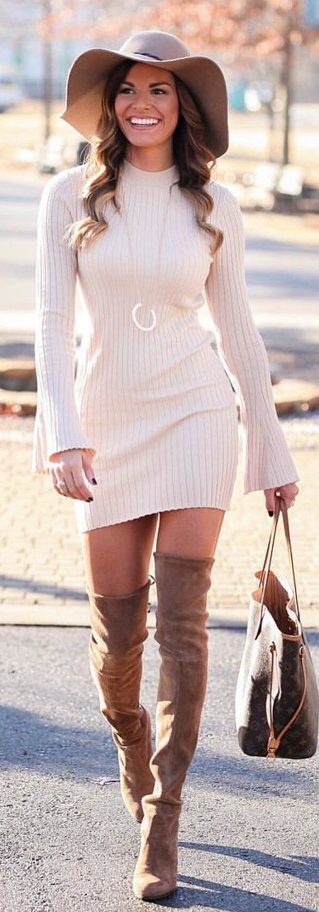 #winter #outfits white crew-neck long-sleeved knit dress. Pic by @mumuandmacaroons.