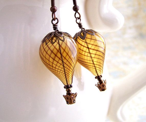 Niobium Steampunk Hot Air Balloon Earrings with Niobium ear wires - Steampunk earrings in amber blown glass & hypoallergenic earwires