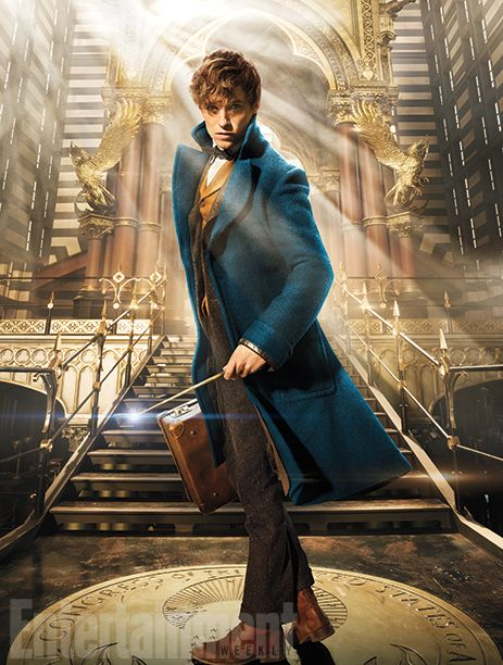 In our cover image, you get a first look at Scamander, his pivotal briefcase in hand, standing inside the entrance of the majestic art deco-influenced Magical Congress of the United States of America (or MACUSA), which is the American version of the Ministry of Magic that's housed inside the Woolworth Building in the film.