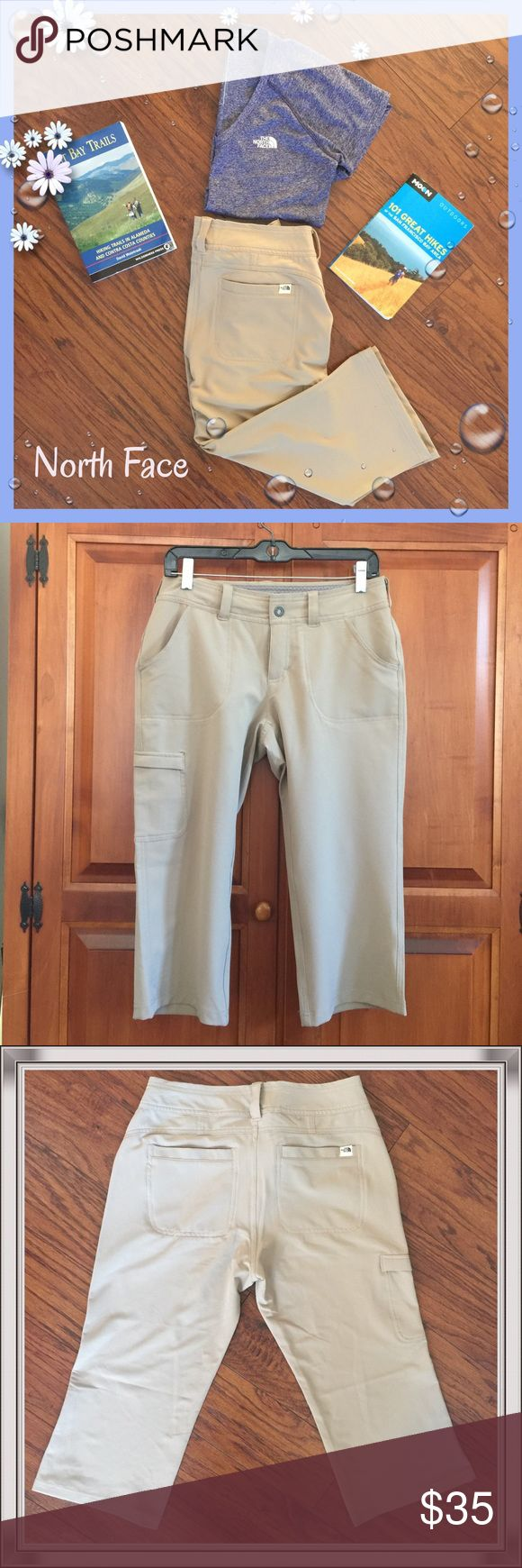 The North Face khaki capris Super cute The North Face khaki Capri. These are new without tag. They have a Velcro pocket on the left leg, plus two pockets on the front and two on the back. These would be great for hiking, biking, camping or whatever activity you're into. The North Face Pants Capris