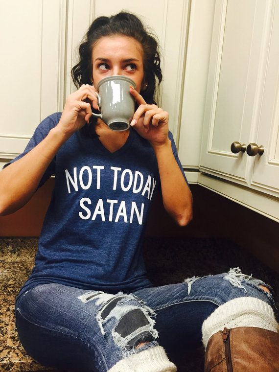 Unisex Tri-Blend T-Shirt Not Today Satan  50/50 blend fine jersey 30/1 combed ring spun 50% cotton 50% polyester 4.4 oz/sq yd   Set on rib collar Double needle sleeve hem Double needle bottom hem Tape shoulder to shoulder Side seamed    ****Unisex is a loose fit, and is similar to mens sizing.