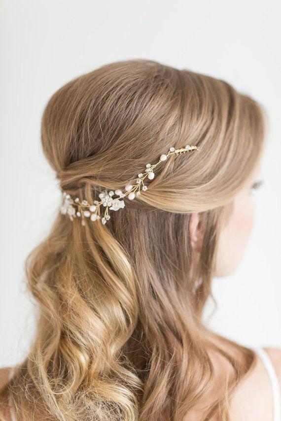 Wedding Hair Vine , Bridal Head Piece, Bridal Pearl Hair Swag