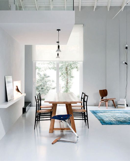 Lots of lovely design in this dining room. We especially love the Zanotta Mezzadro Tractor Seat http://www.nest.co.uk/browse/product-type/stools/-/zanotta-mezzadro-tractor-seat