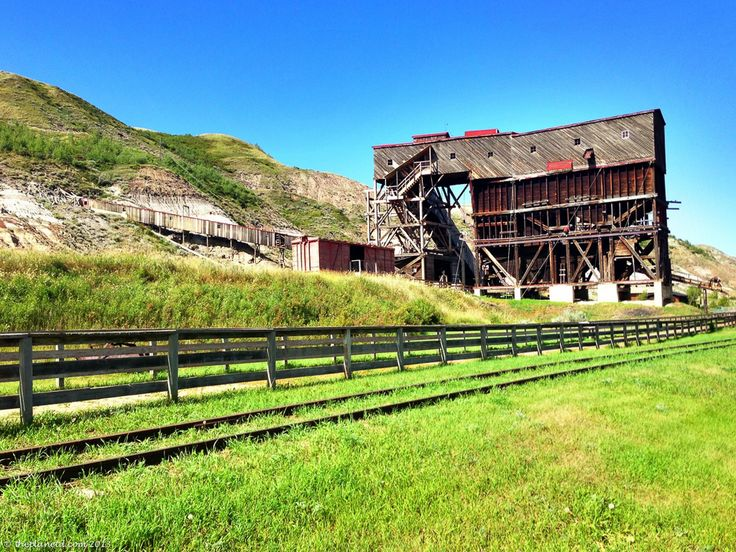 On the trail from Dinosaur Provincial Park to Drumheller there are many Historical sights like Atlas Coal Mine. Many a cowboy worked here and you can go underground and ride the narrow gauge train, climb the last wooden tipple in Canada and put on a miners lamp to hike through the tunnels.