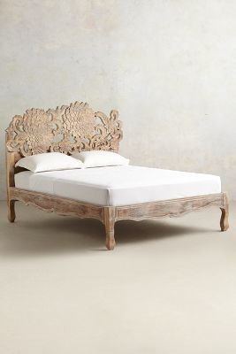 carved, bohemian, moroccan, gypsy, home decor, bedroom furniture Anthropologie Handcarved Lotus Bed