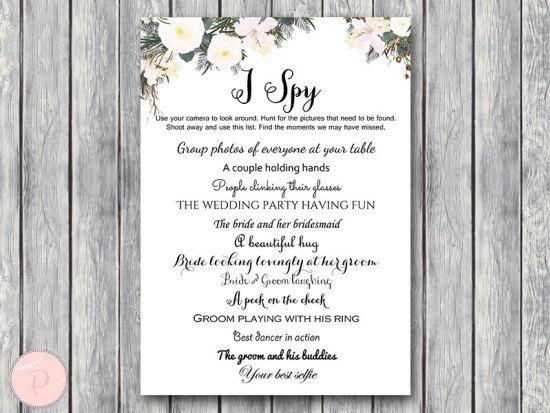 white floral i spy wedding scavenger game