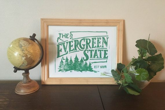 The Evergreen State - Block Print
