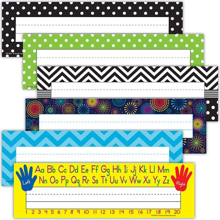 """Use them to help teachers and substitute teachers learn students' names. Use them to label learning centers, storage areas, and portfolio collections. Laminate them for use as vocabulary flash cards or word bank labels. Extra long! 3-1/2"""" x 11-1/2"""" 36 per pack. This product is acid-free per industry standards. This set includes 6 different titles (packs) : Left/Right, Lime Polka Dots, Aqua Chevron, Black/White Dots, Fireworks, Black Dots."""