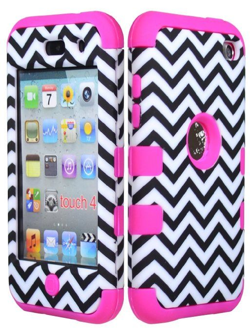 Amazon.com: Bastex Hybrid Hard Case for Apple Ipod Touch 4, 4th Generation - Hot Pink Silicone with Black & White Chevron Pattern: Cell Phon...