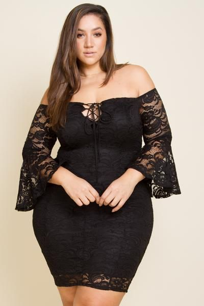 Plus Size Lace Bell Sleeve Midi Dress
