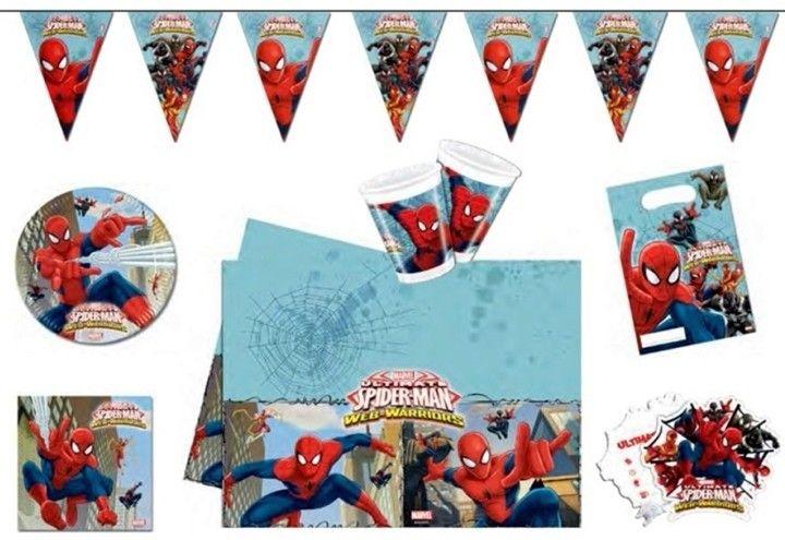 Het 50-delige Spider-Man feestpakket bevat alle ingrediÌÇnten om er een geslaagd feest van te maken. Inhoud: 8 kartonnen bordjes 8 plastic bekers 20 servetten een tafelkleed van 120 x 180 cm 6 feestzakjes een vlaggenlijn van 2.3 meter 6 uitnodigingen   Afmeting: volgt later.. - Feestpakket Spider-Man: 54-delig