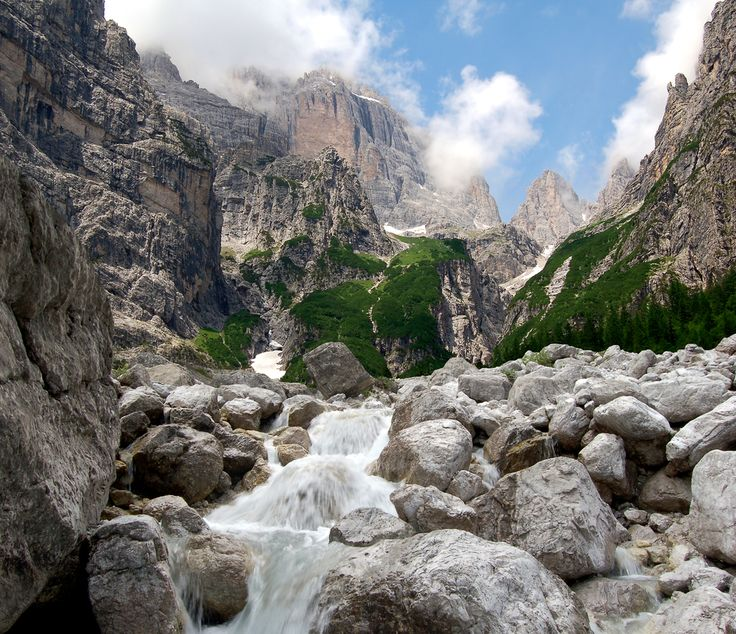 View from the Bocca di Brenta, a hiking path in the Dolomites, Italy. Incredible! www.walksofitaly.com