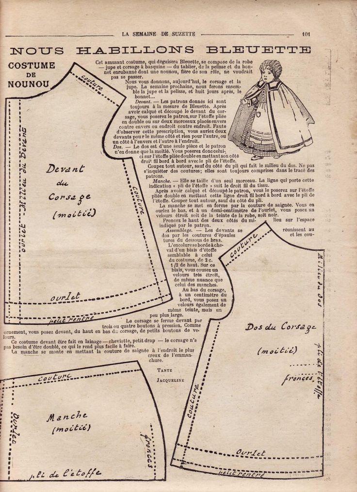 PAR AMOUR DES POUPEES :: 1917 -03- Bleuette costume de nounou …
