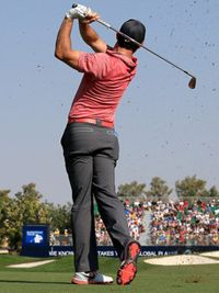 Rory McIlroy wearing the Lunar Control III in Dubai - this colour is platinum/crimson and will be available in January 2015.