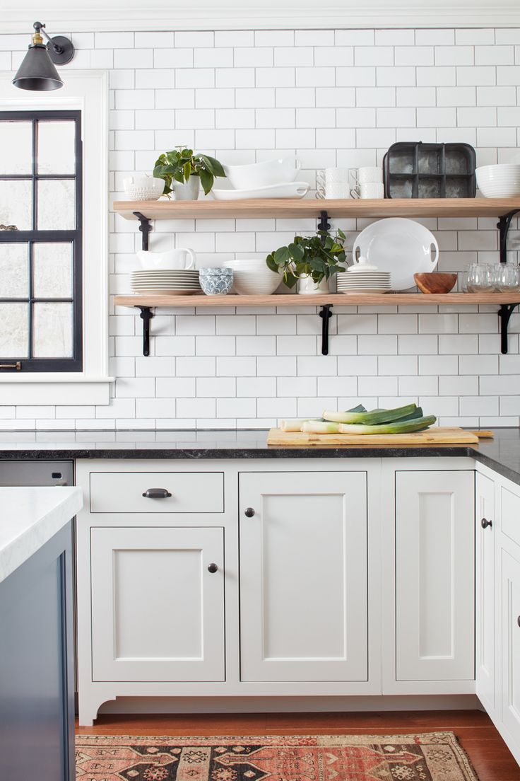 White kitchen cabinets with black marble countertops - This Old House Northshore Farmhouse Kitchen By Kristina Crestin Design Kitchen Shelveswood Shelveskitchen Cabinetsblack Marblethis