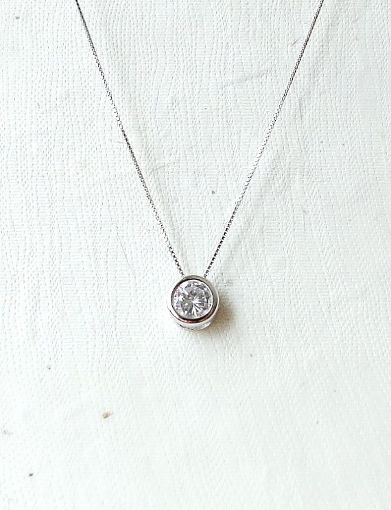 Long silver Necklace round pendant Necklace by laplumeblanche