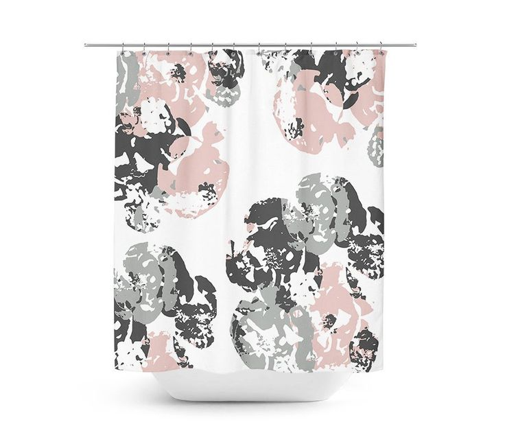 Bath Curtain, Shower Curtain, Pink Grey Bathroom, Pink Shower Curtain, Floral Shower Curtain, Bathroom Decor