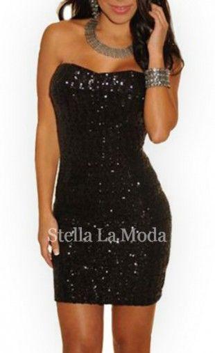$29.99 Black Sequined Strapless Mini Dress
