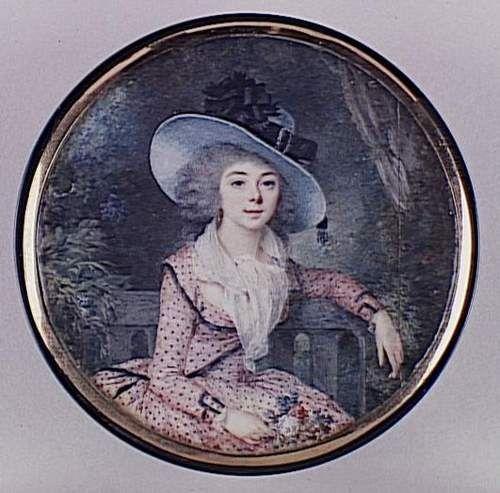 Portrait of a Woman (miniature) by Marie Louis Sicard, 1789.