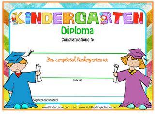 Diplomas for Pre-K and Kindergarten